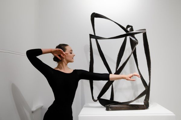Georgia Powley, against the sculpture Lotus 2018 by James Rogers, at the Drill Hall Gallery.Photo credit Art Atelier.